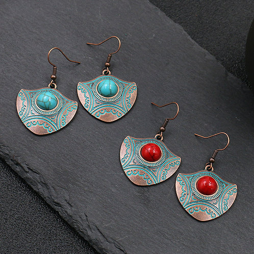 Western Design Copper and Turquoise Earrings