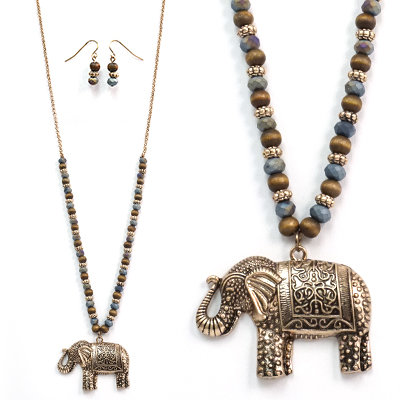 Beaded Elephant Long Necklace