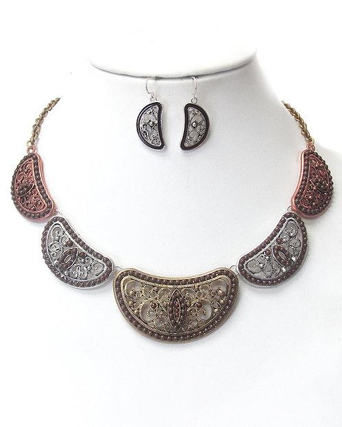 Filigree & Bead Necklace Set
