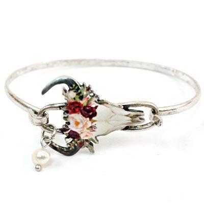 Floral Cow Skull Bracelet