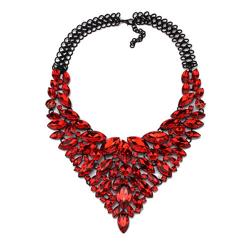 BLING Red Rhinestone Statement Necklace