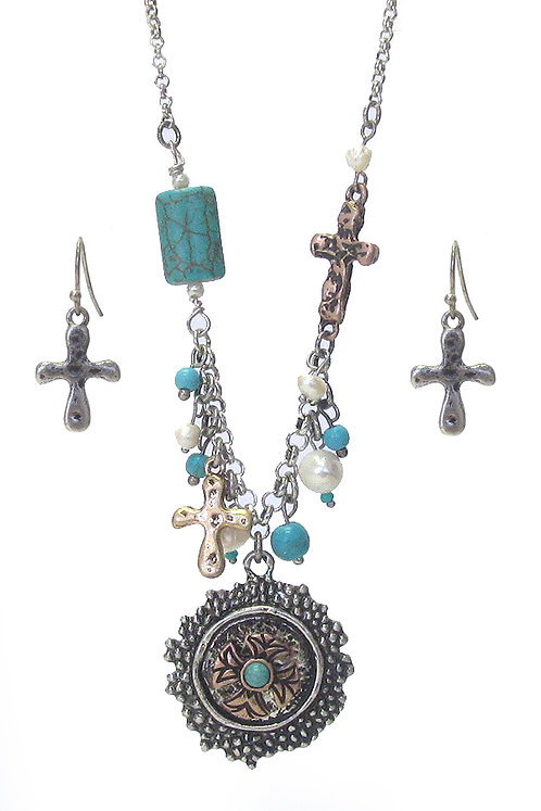 Turqoise Cross Necklace Set