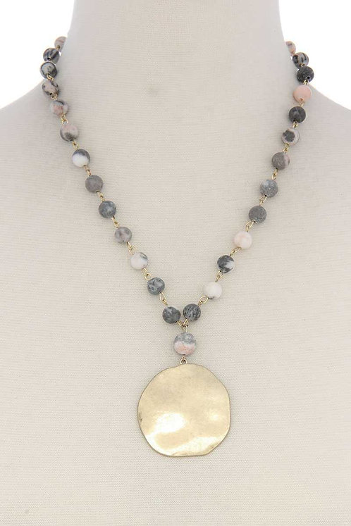 Earth Stone Beads Circle Necklace