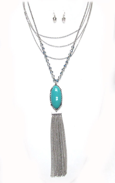 Mult Strand Turquoise Tassell Long Necklace