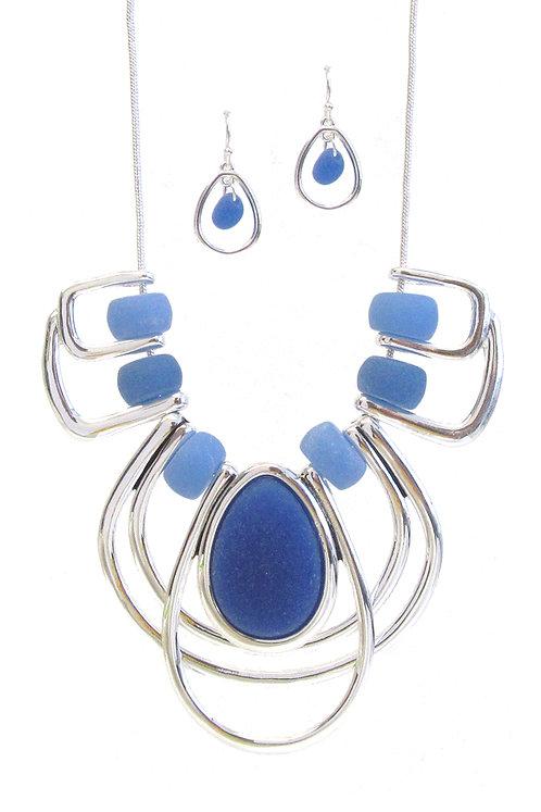 Silver Sea Glass Necklace Set
