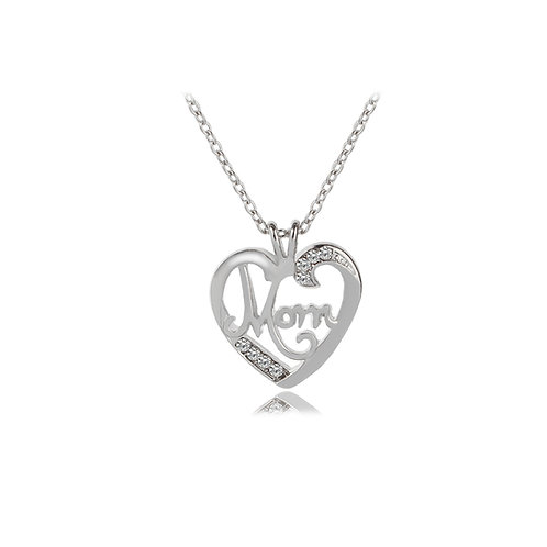 Rhinestone Heart Mom Necklace