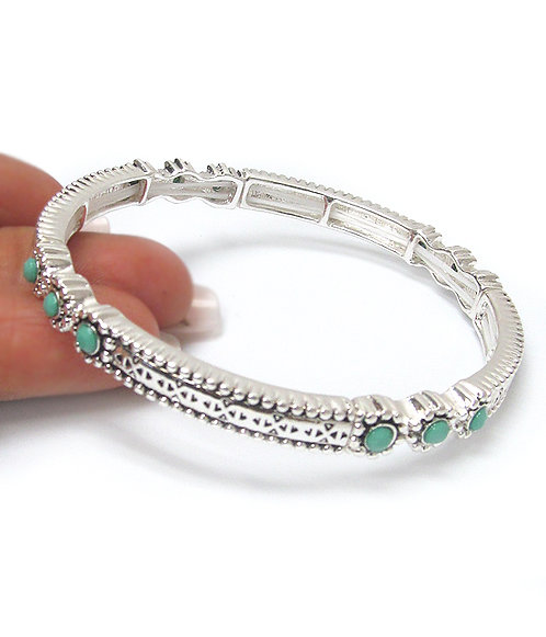 Silver & Turquoise Stretch Bangle