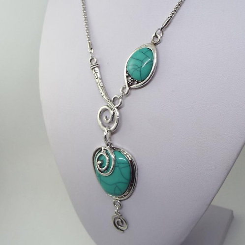 Silver Swirl Turquoise Necklace