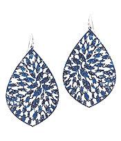 Blue Metal Filigree Earrings