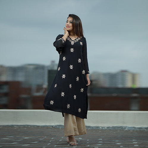 Navy blue georgette kurti with hand embroidery