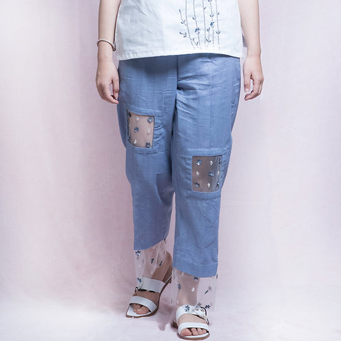Blue Cotton Pants with Hand Embroidered Net Patch
