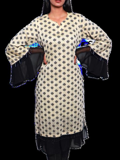 Black And Cream Frilled Chanderi Silk Self Patterned Kurti