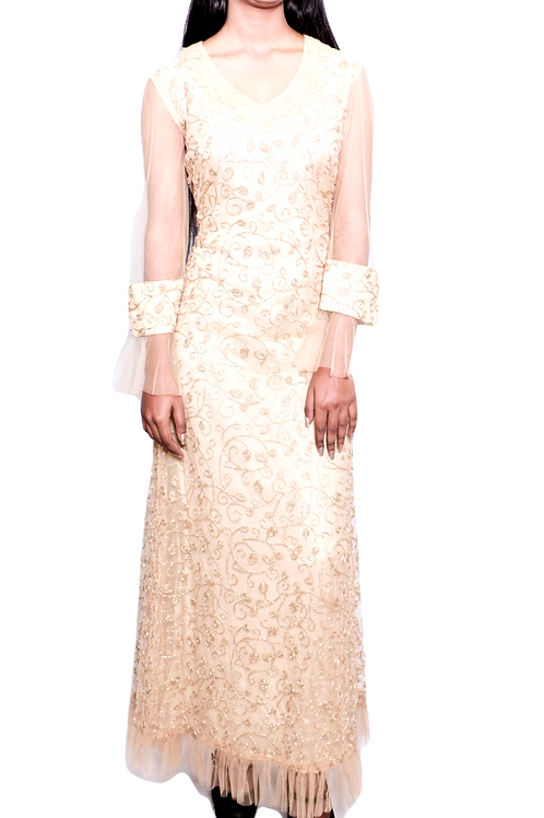 Dress With Frilled Net Sleeves