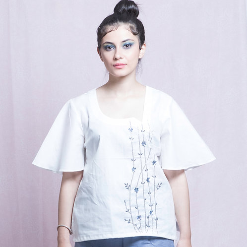 White and Blue Hand Embroidered Top