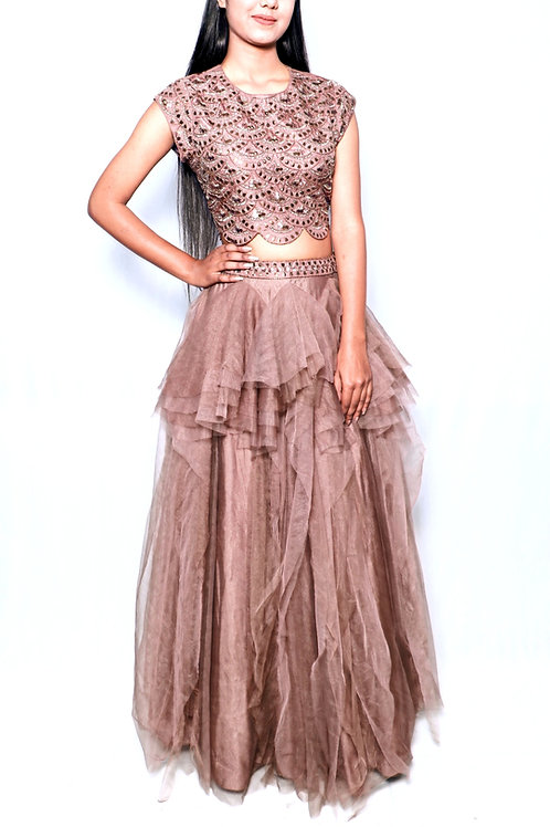 Brown Hand Embroidered Top With Frilled Lehenga