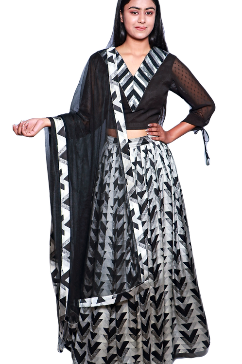 Grey And Black Embroidered Choli With Geometric Print Lehenga And Net Dupatta