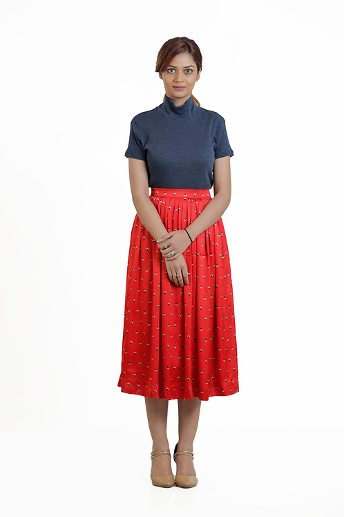 Red Printed Knife Pleated Skirt