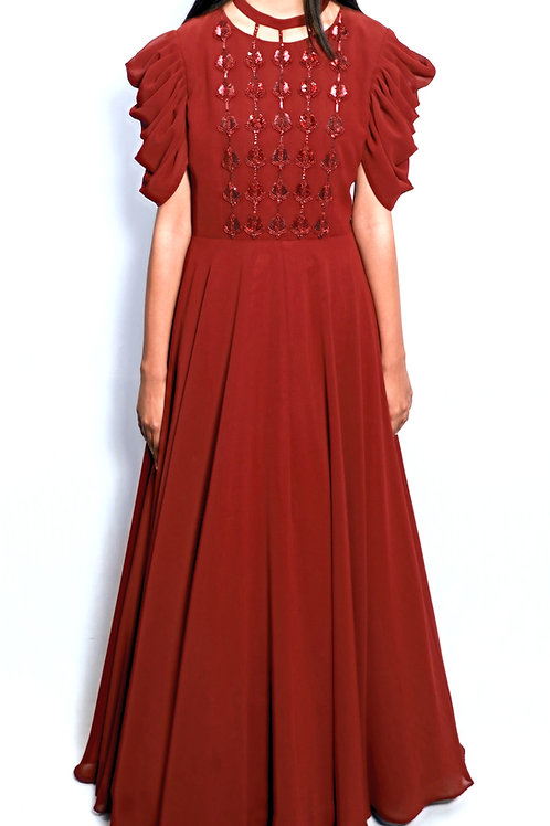Hand Embriodered Brick Red Gown