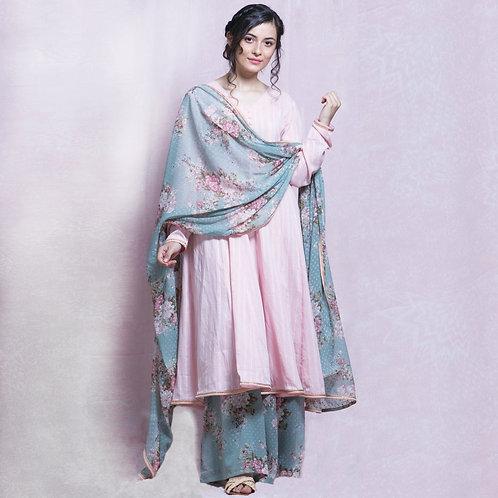 Blush Pink Cotton Anarkali Suit