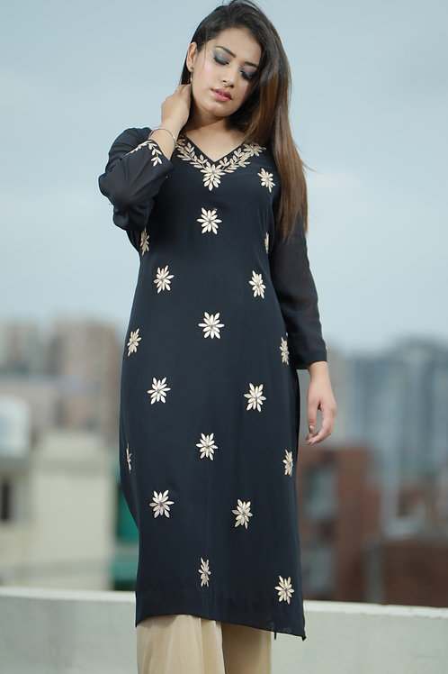 Women Navy blue georgette kurti with hand embroidery