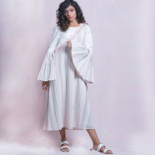 White and Pink Stripes Hand Embroidered Tunic Dress