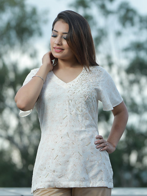 Women Cotton hand embroidered top
