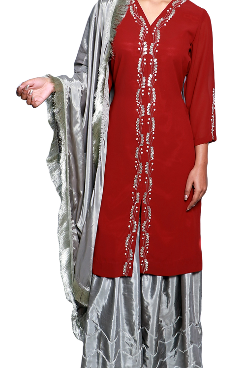 Embroidered Kurti With Paper Silk Grey Palazzos