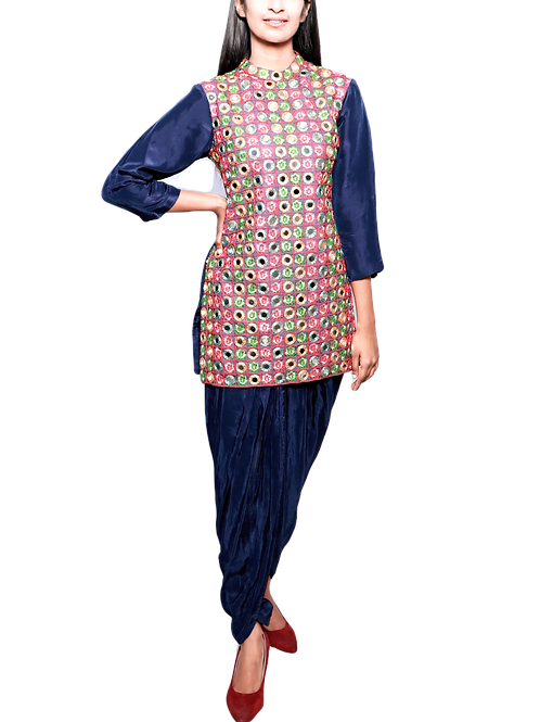 Embroidered Gujarati Kutch Work Kurti With Dhoti Pants