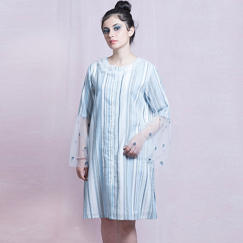 Blue and White Stripes Hand Embroidered Shirt Dress