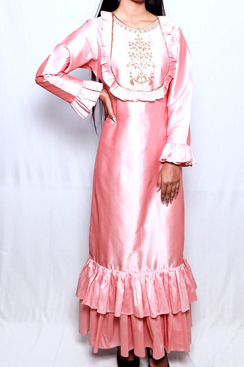 Hand Embriodered Pink Silk Dress