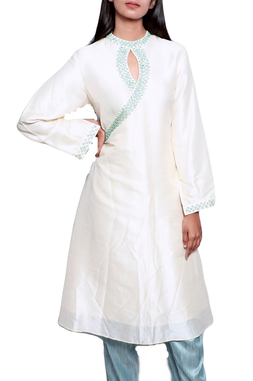 Embroidered Off White Silk Kurti With Blue Raw Silk Pants