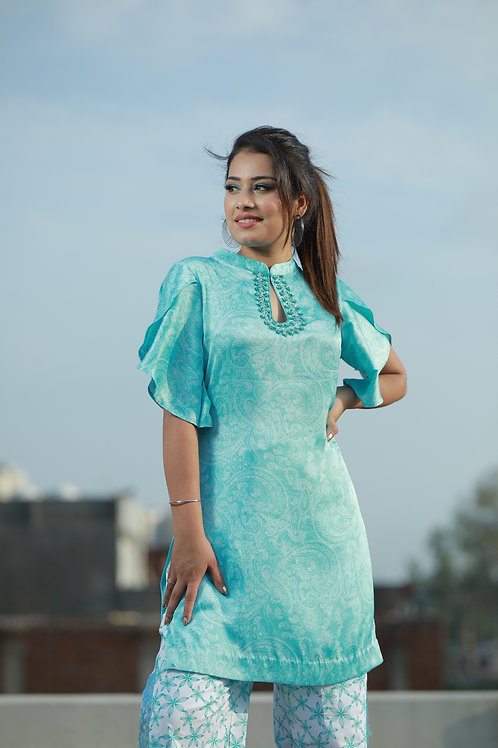 Women aqua blue italian satin hand embriodered top