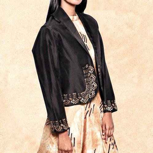 Black Silk Collared Jacket