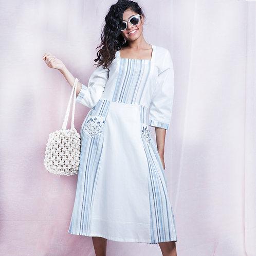 Blue & White Stripes Embroidered Pattern Block Dress