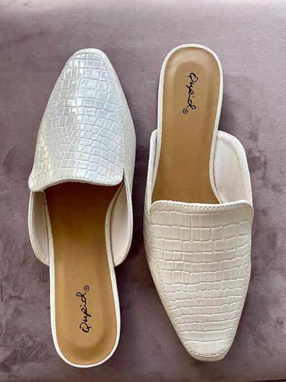 White Croc Mules