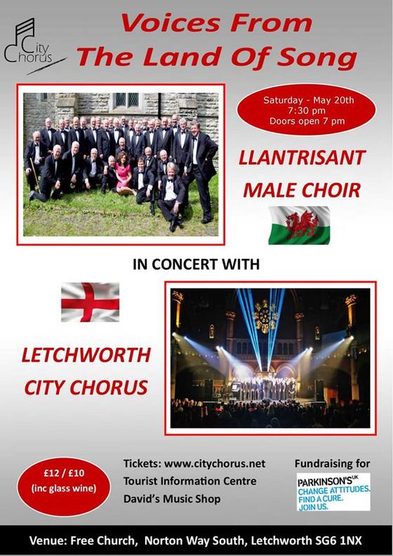 Llantrisant Male Choir to sing in Letchworth!