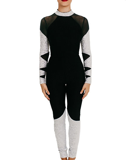 HUNTER - Jumpsuit Black Mesh/Sequin Knit