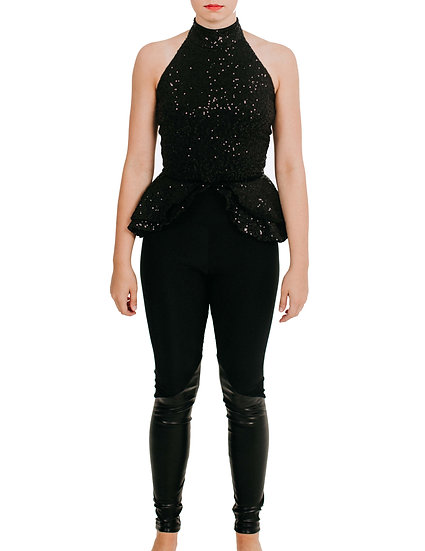 CRYSTAL - Jumpsuit Leather/Sequin Knit