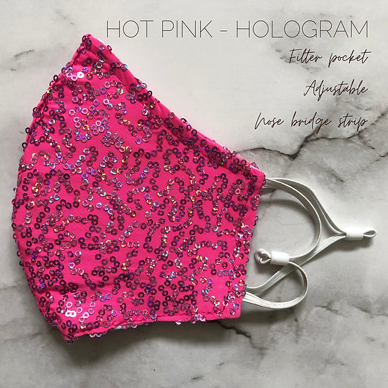 HOT PINK HOLOGRAM SQN KNIT