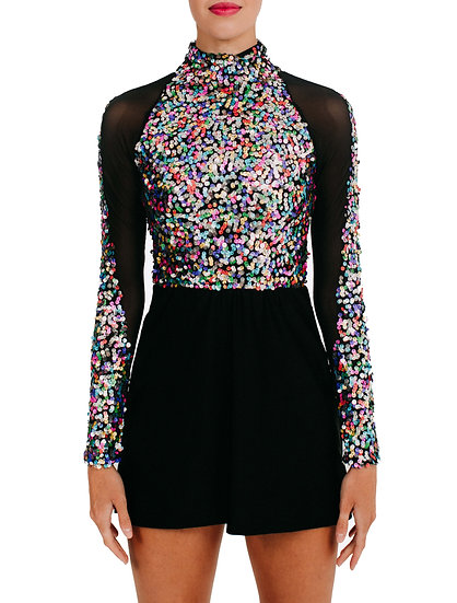 KARI - High Neck A-line Specialty Sequin