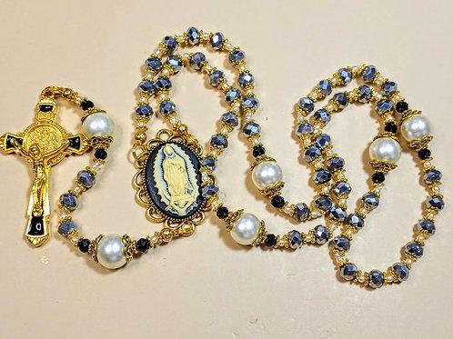 Beautiful Diamond Silvery Crystal Cream Pearl Guadeloupe Cameo Benedict Rosary