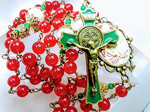 CHRISTMAS ROSARY Victorian Style Ruby Red Jade White Pearl St Benedict Rosary