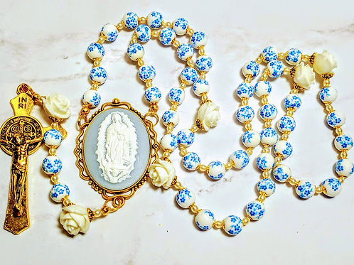 Vatican Style Blue Flower Ceramic Bead Guadeloupe Cameo Benedict Rosary