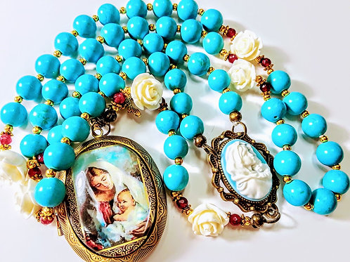 Beautiful Vatican Style Mary Child Cameo Locket Turquoise Bead White Rose Rosary