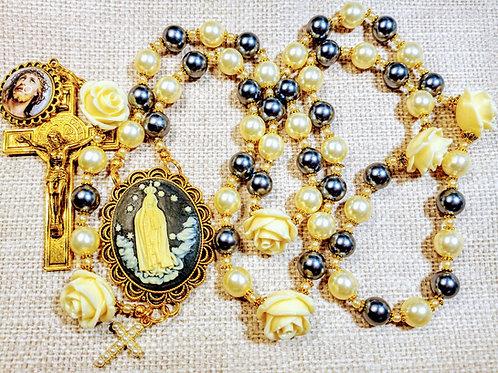 Vatican Style Cream Black Pearl Fatima Benedict Charm Rosary
