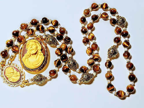Beautiful Vatican Style Tiger Eye Bead White Pearl Jesus Cameo Locket Rosary