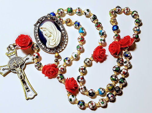 Beautiful Vatican Style Multi Color Cloisonné Red Rose St. Benedict Rosary