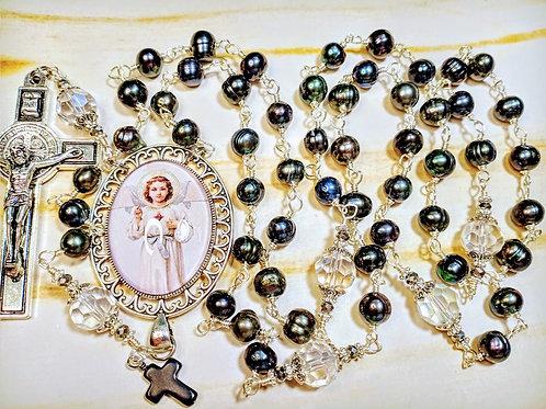 Beautiful Vatican Style Black Freshwater Pearl Child Jesus Cameo Benedict Rosary