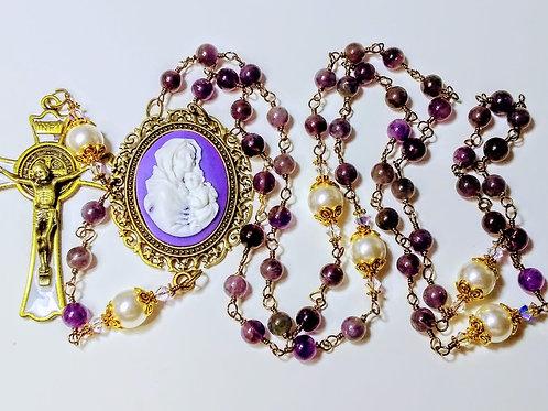 Beautiful Vatican Style Amethyst Bead Cream Pearl St. Benedict Rosary Swarovski