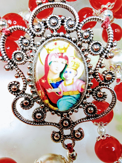 Merry Christmas Red Jade Victorian Style Virgin Mary Baby Jesus Rosary Necklace